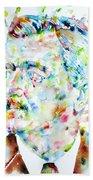 William Faulkner - Watercolor Portrait.4 Beach Towel