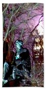 William Seward Statue And Empire State Bldg With Trees Beach Towel