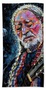 Willie Nelson Portrait Beach Sheet