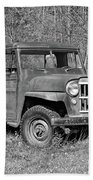 Willys Jeep Pickup Truck Monochrome Beach Towel