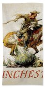 Winchester Horse And Rider  Beach Towel