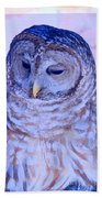 Wind Blown Owl  Beach Towel
