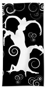 Wind Dancing - White On Black Silhouettes Beach Towel