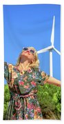 Wind Turbines Woman Beach Towel