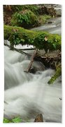 Winding Creek With A Mossy Log Beach Towel