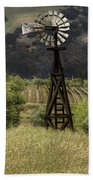 Windmill And Vineyards Beach Towel