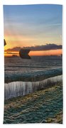 Windmill At Sunrise Beach Towel