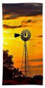 Windmill In Texas Sunset Beach Towel
