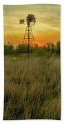 Windmill On The Prairie Beach Towel
