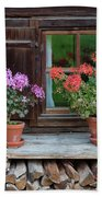 Window And Geraniums Beach Towel