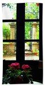 Window And Roses Beach Towel