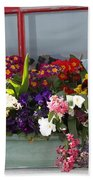 Window Flowers Beach Towel