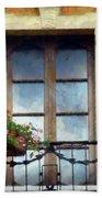 Window Shutters And Flowers I Beach Towel