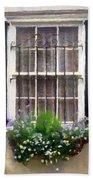 Window Shutters And Flowers II Beach Towel