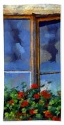 Window Shutters And Flowers IIi Beach Towel