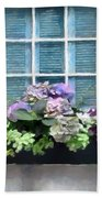 Window Shutters And Flowers Vi Beach Towel