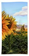 Window To The Sunflower Fields Oil Painting Beach Towel