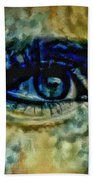 Windows Into The Soul Eye Painting Closeup All Seeing Eye In Blue Pink Red Magenta Yellow Eye Of Go Beach Towel