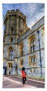 Windsor Castle And Coldstream Guard Beach Towel