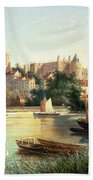 Windsor From The Thames   Beach Towel by Robert W Marshall