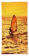 Windsurfer At Sunset Beach Towel