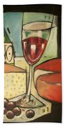 Wine And Cheese Imported Meal Beach Towel