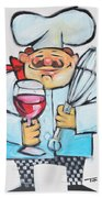 Wine And Wisk Chef Beach Towel