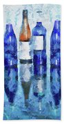 Wine Bottles Reflection  Beach Towel