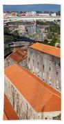 Wine Cellars In Vila Nova De Gaia By The Douro River Beach Sheet
