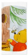 Winnie The Pooh And His Lunch Beach Towel