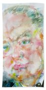 Winston Churchill - Watercolor Portrait.4 Beach Towel