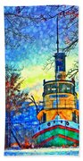 Winter And The Tug Boat 2 Beach Towel