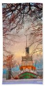 Winter And The Tug Boat Beach Towel