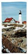 Winter At Portland Head Beach Towel by Greg Fortier