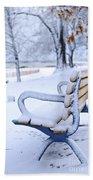 Winter Bench Beach Towel by Elena Elisseeva