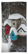 Winter Birdhouses Beach Towel