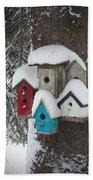 Winter Birdhouses Beach Sheet