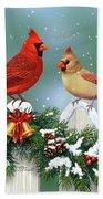 Winter Birds And Christmas Garland Beach Sheet