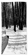 Winter Boardwalk In Black And White Beach Towel