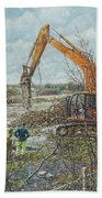 Winter Building Site Breaker Beach Towel