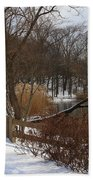 Winter By The Lake Beach Towel