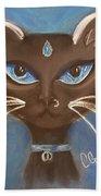 Winter Cat Beach Towel