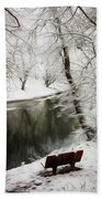 Winter Contemplation Watercolor Painting Beach Towel