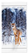 Winter Deer 1 Beach Towel