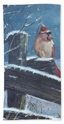 Winter Female Cardinal Beach Towel