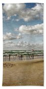 Winter Fences In Grand Haven 3.0 Beach Towel by Michelle Calkins