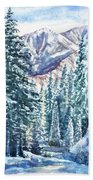 Winter Forest And Mountains Beach Towel