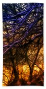 Winter Forest Sunset Oil Style Beach Towel