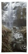 Winter Freeze At Multnomah Falls Beach Towel