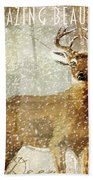 Winter Game Deer Beach Towel